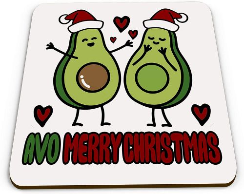 AVO Merry Christmas Cute Avocado Novelty Glossy Mug Coaster